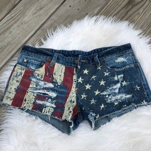 Ralph Lauren American Flag Mini Shorts